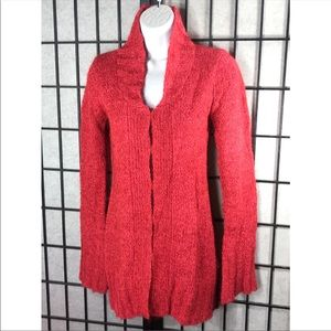 Free People Cardigan Mohair Ribbed Red Sweater
